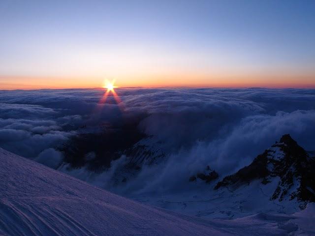 A New Day on Rainier. Photo by Jeff Handlin