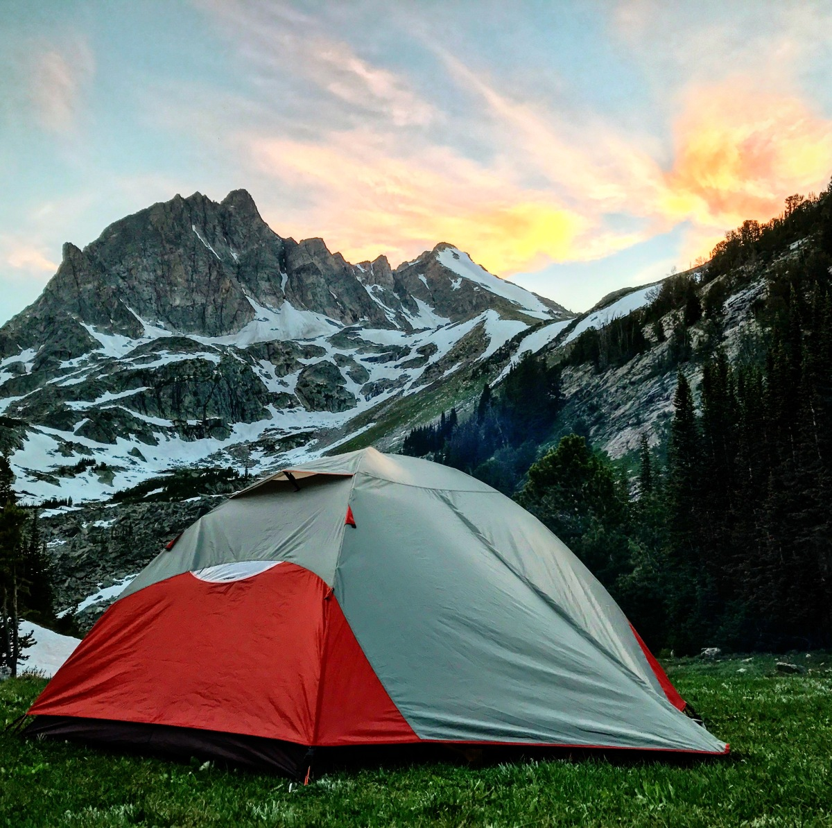 camping under whitetail peak, bear tooth mountains, montana