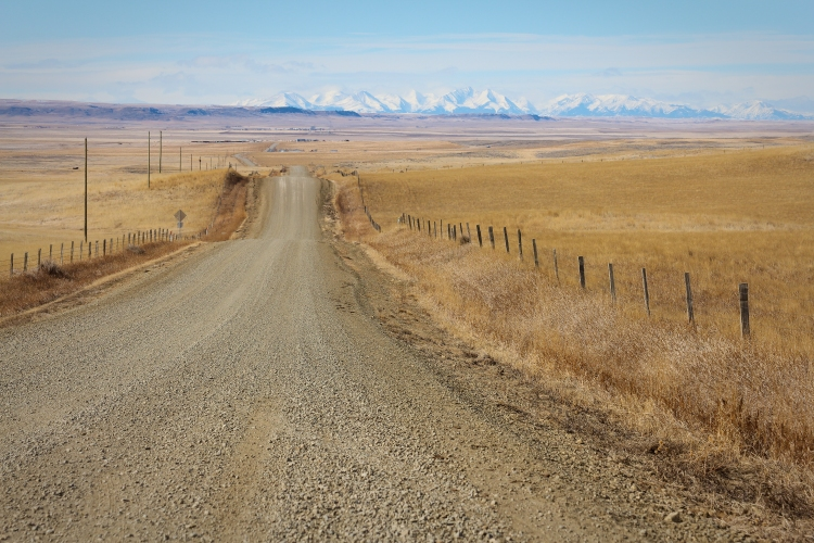 rural montana road, mountains, eastern montana